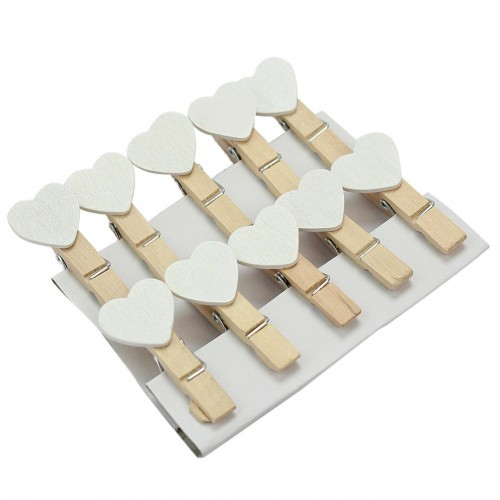 Wooden Mini white Heart Shape Clip Photo paper postcard Clips pegs Wedding Party Decoration