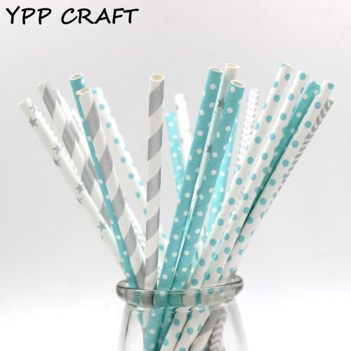 YPP CRAFT 125pcs Mixed striped mixed birthday wedding decorative party decoration event supplies drinking Paper Straws