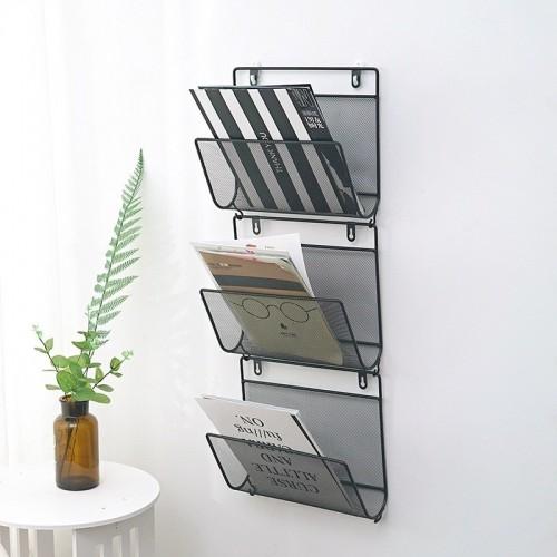 Nordic Style Metal Magazine Rack Wall Mounted Storage Rack Book Shelf Office Stationery Holder Magazine Organizer