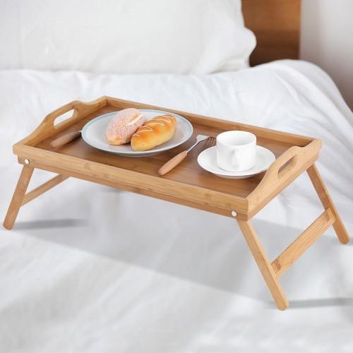 Portable Bamboo Wood Bed Tray Useful Breakfast Laptop Desk Tea Food Sofa Bed Tray