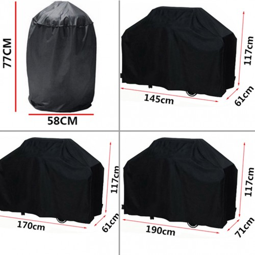 Black Waterproof BBQ Grill Cover Outdoor Rain Grill Anti Dust Protector