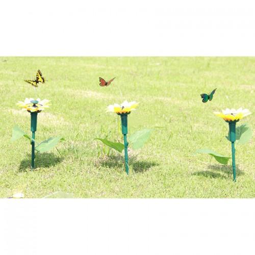 1pc Vibration Solar Power Color Dancing Flying Fluttering Butterflies Garden Decoration