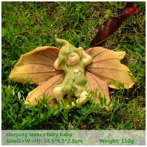 Everyday collection leaf fairy angel figurine baby outdoor for Garden decking ornaments