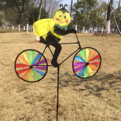Keythemelife Animal Cycling Shape Creative Multicolor Wind Spinner Whirligig Garden Windmill Cloth for Garden Decor F