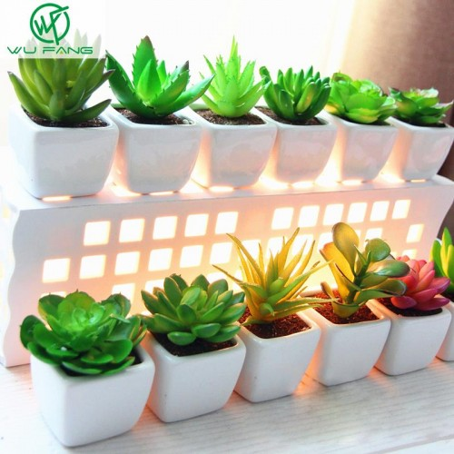 Mini potted plant Desktop pot white ceramic basin simulation artificial succulents decorative ornaments variety