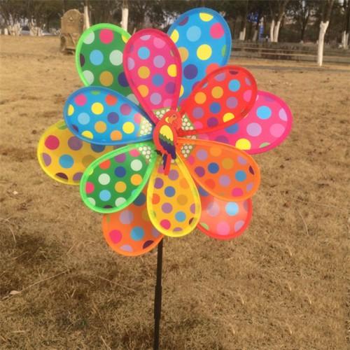 Multicolor Dots Windmill Garden Ornaments Wind Spinner Whirligig Garden Windmill for Children Gift Garden Home Decor
