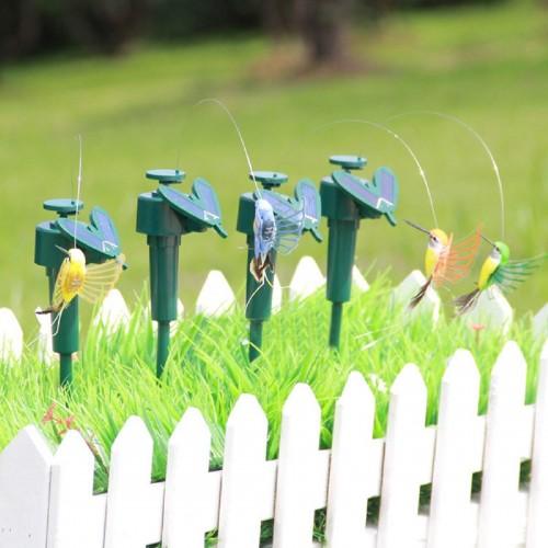 New Vibration Solar Power Dancing Flying Fluttering Butterflies Hummingbird Garden Decor