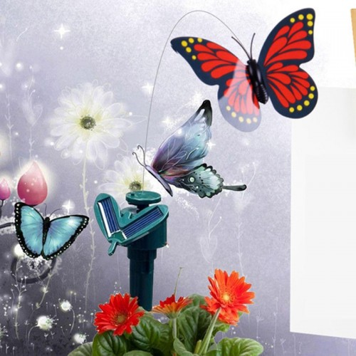 New Vibration Solar Powered Dancing Flying Butterfly Garden Wall Yard Decoration