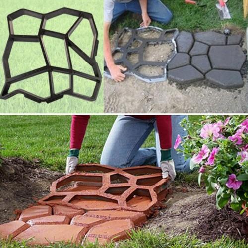 Plastic path maker mold 43 5 43 5cm manually paving cement brick stone road concrete molds