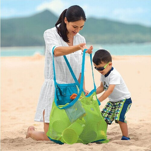 Organizer Kids Beach Toys Receive Bag Mesh Sandboxes Away Child Storage