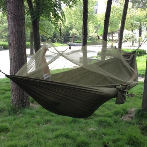 Portable High Strength Parachute Fabric Camping Hammock Hanging Bed With Mosquito Net