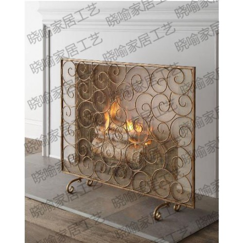 Frame wrought iron floor mantel Stove flameproof enclosure The fire screen