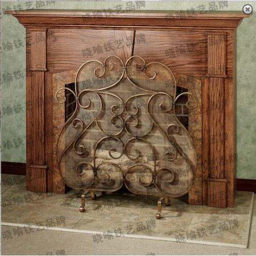 High grade wrought iron floor mantel Flameproof screen The charcoal fire enclosure
