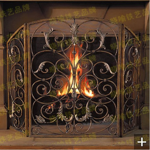 High grade wrought iron floor mantel Wai flameproof enclosure fire (2)