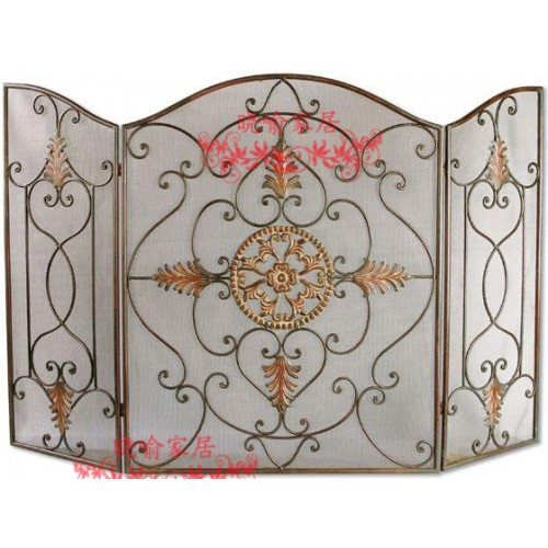 Wrought iron floor mantel The leaves modelling fireplace surround furnace1129