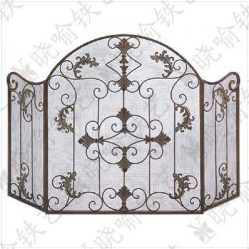 Wrought iron vertical mantel furnace Fire screen Folding screen fireplace