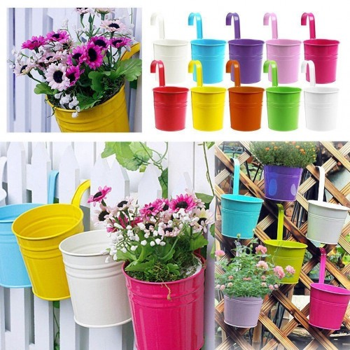 Colors Fashion Metal Flower Pot Hanging Balcony Garden Plant Planter