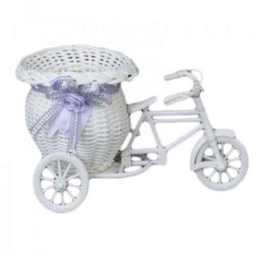 Flower Plastic White Tricycle Bike Design Flower Basket Container For Flower Plant