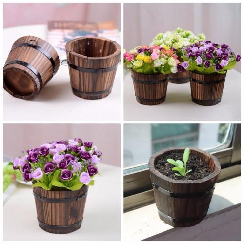 Home Garden Round Wooden Flower Pots Retro Planter