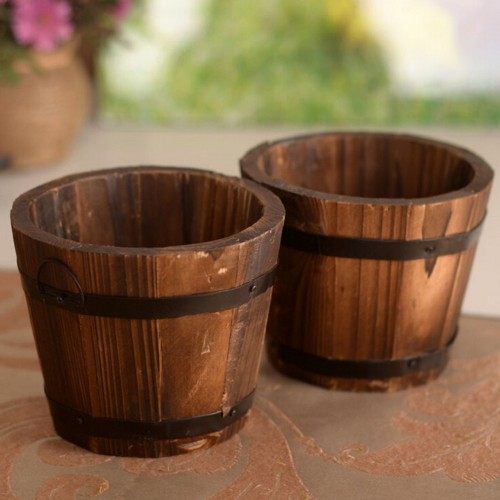 New Primaries Small Wooden Rustic Small Flower Pot Flower Basket Flower Bowyer