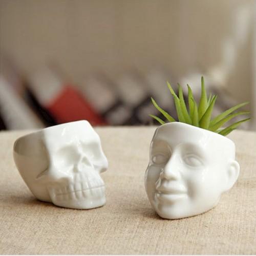 New Zakka white Mini skull and smile ceramic succulent plants pots DIY Mini