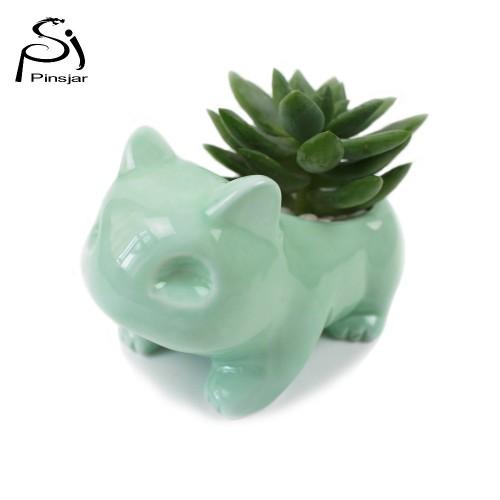 Pokemon Ceramic Flowerpot Bulbasaur Cute White Green Plants Flower Pot