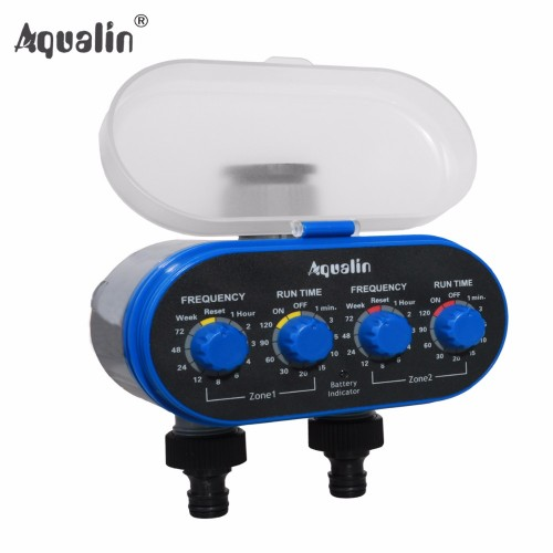 Ball Valve Electronic Automatic Watering Two Outlet Four Dials Water Timer Garden Controller