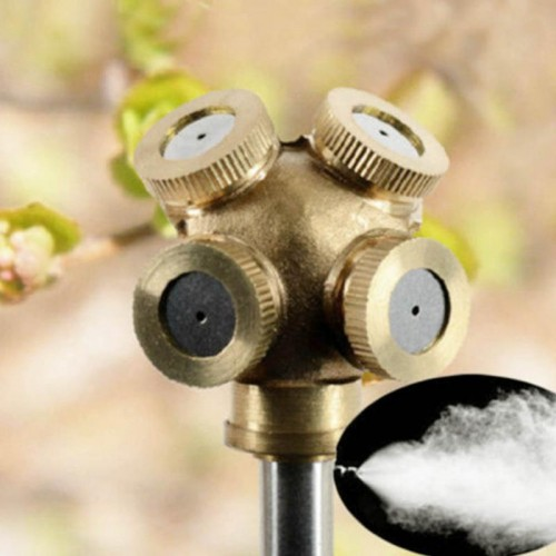 New 4 Hole Brass Spray Misting Nozzle Garden Sprinklers Fitting Hose Water Connector