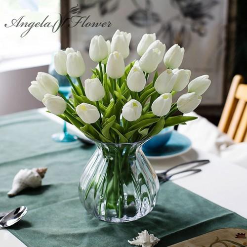 31PCS LOT pu mini tulip flower real touch wedding flower bouquet artificial silk flowers