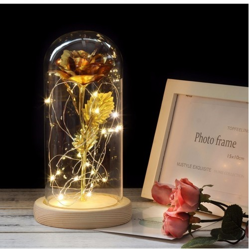 Beauty And The Beast Gold plated Red Rose With LED Light In Glass Dome For
