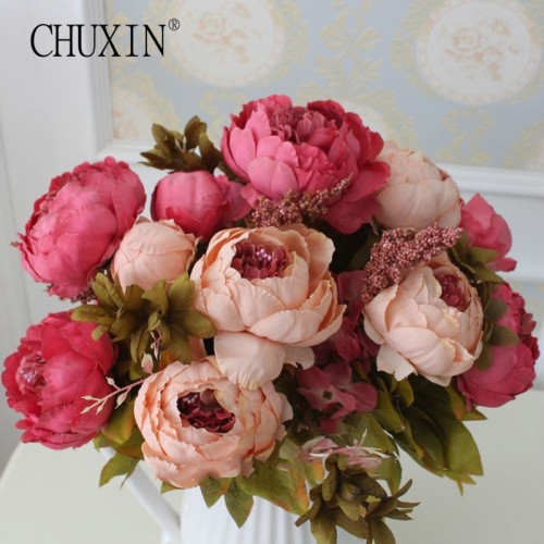 HIGHT Quality silk flower European 1 Bouquet Artificial Flowers Fall Vivid Peony Fake Leaf Wedding Home