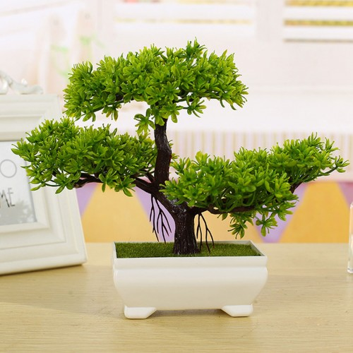 Home Decor 1PC Welcoming Pine Bonsai Simulation Decorative flowers and Wreaths Artificial Flowers Fake Green Pot