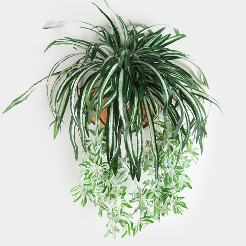Luyue 65cm Artificial flowers plants Wall Hanging Chlorophytum potted green plants PVC Fake Simulation flower living