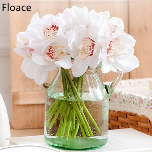 Real Touch cymbidium 7 heads Short shoot table decoration flower DIY wedding bride hand flowers home