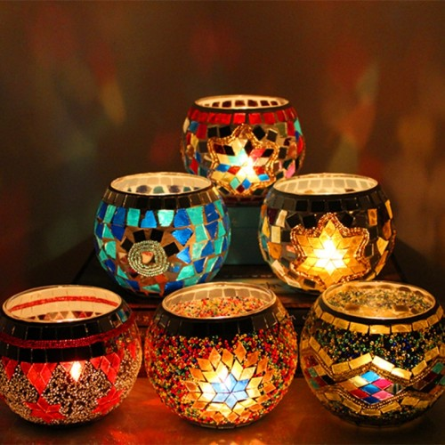 1 X Handmade Mosaic Candle Holder Romantic Candlelight Dinner Wedding Party Candle Lamp Home Decoration