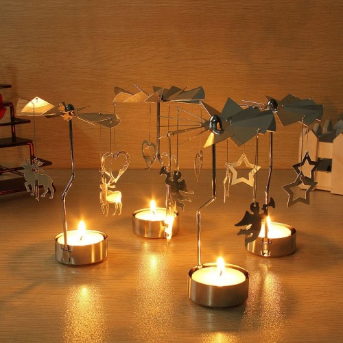 4 Style Christmas Candle Holder Rotary Spinning Carousel Angle Light Christmas Candle Holder Party New