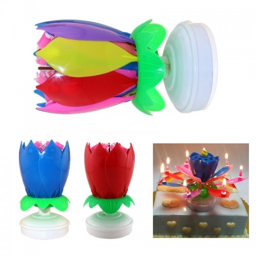 6 Colors Candles Double Layer Rotating Musical Lotus Electronic Art Birthday Candles with Holder for