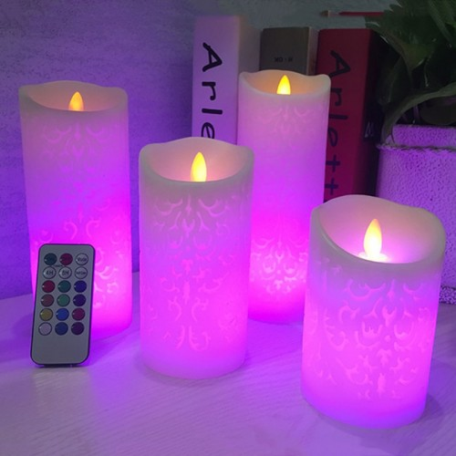 Dancing flame LED Candle with RGB Remote Control Wax Pillar Candle for Wedding Christmas Decoration room