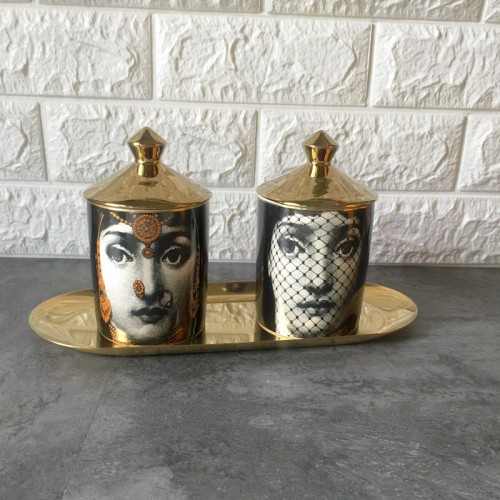 Fornasetti Candle Holder Diy Handmade Candles Jar Retro Lina Face Storage Bin Ceramic Caft Home Decoration