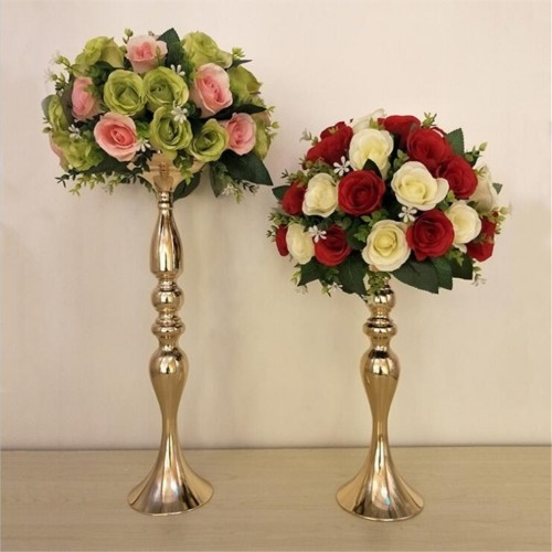 Gold Candle Holders 50cm 20 Metal Candlestick Flower Vase Table Centerpiece Event Flower Rack Road Lead