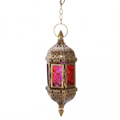 Mayitr 1pc Moroccan Style Wall Hanging Candle Holder Classic Metal Candle Stick Candle Lantern for Wedding