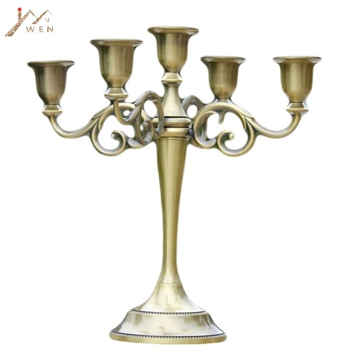 Silver Gold Bronze Black 3 Arms Metal Pillar Candle Holders Candlestick Wedding Decoration Stand Mariage Home