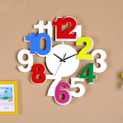 Creative Simple Wall Clock Art Wood Silent Digital Round Cute Kids Wall Clock
