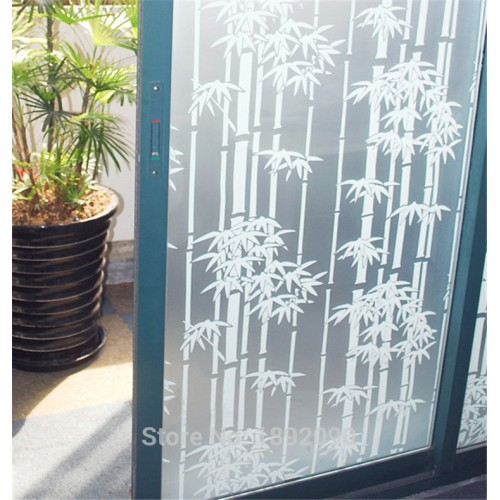 45 60 200cm Opaque Self adhesive Frosted Privacy Glass Window Film Decorative Window Stickers White Bamboo