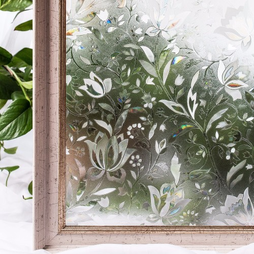 CottonColors Bedroom Bathroom PVC Window Privacy Film No Glue 3D Static Flower Decoration Window Glass Sticker