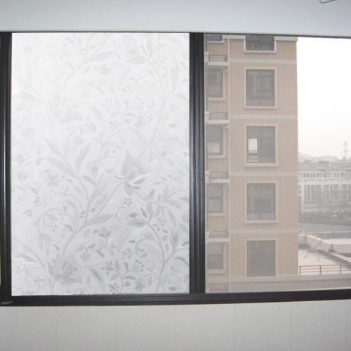Elegant flower texture Self Adhesive Static Privacy static gel Glass Window Film Thermal