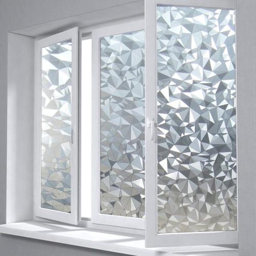 Polygon Shape Opaque Static Glass Window Film Privacy Decorative Self adhesive Glass Door Window Film Sticker