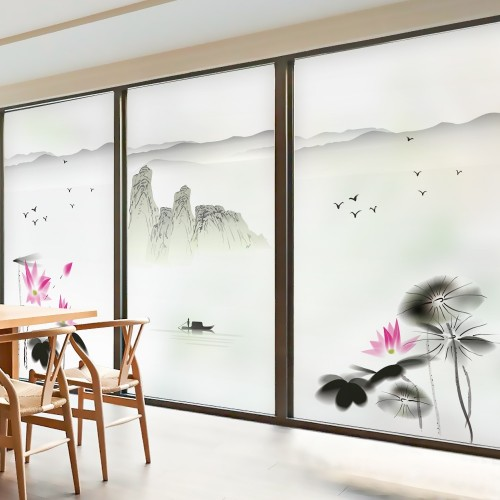 Static glass window film Frosted Opaque Privacy Glass Sticker Home Decor Digital print Chinese landscape style