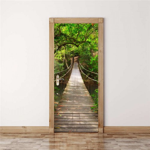 3D Door Wall Decorative Mirror Forest Bridge Self Adhesive PVC Removable Decals Home Living Room Decor