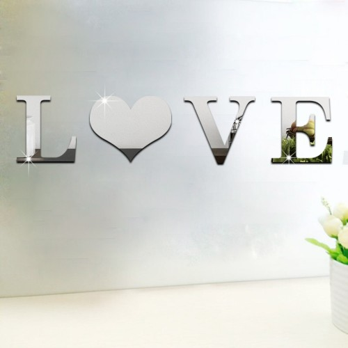 4Pcs Decorative Wall Miroir Mural Ddecorative Decor Wall Art Home Wedding Decorative Mirrors Paper HOME LOVE